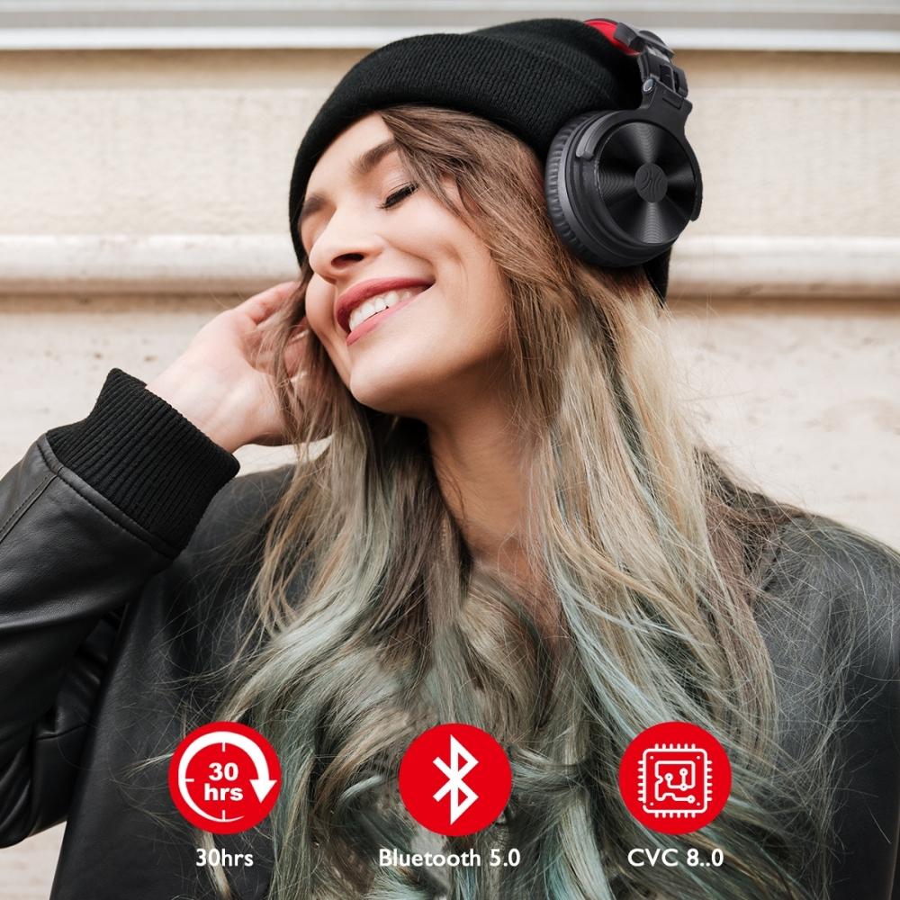 OneOdio PRO M Black Bluetooth 5.0 bezvadu austiņas ar atvienojamu mikrofonu