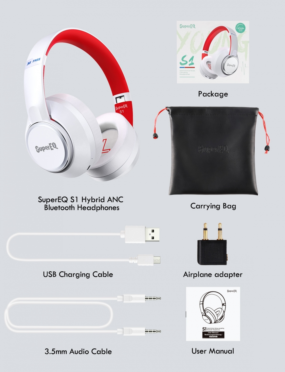 OneOdio S1 White Over Ear Hybrid ANC Bluetooth 5.0 austiņas