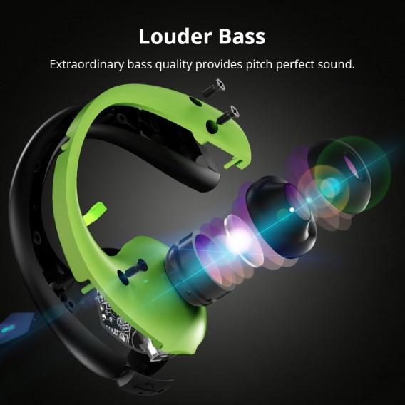 TRONSMART GLEAM Black Green Bezvadu Bluetooth® Sports austiņas