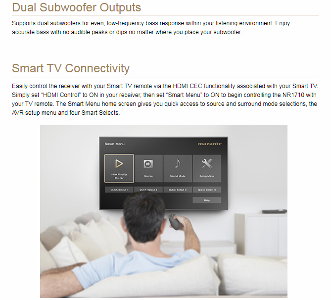 Marantz NR-1710 Silver/Gold 7.2ch AV Resīveris, 3D Audio, Online Music Streaming
