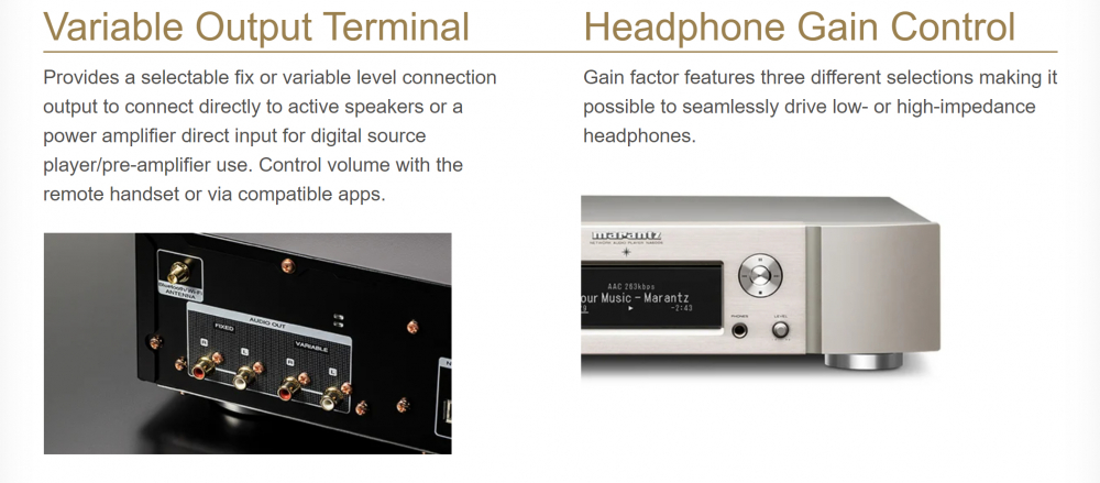 MARANTZ NA-6006 Silver/Gold tīkla atskaņotājs Wi-Fi®, Bluetooth® and Apple® AirPlay® 2