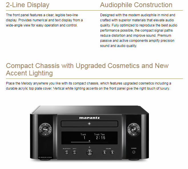 MARANTZ Melody M-CR412 Black CD Stereo resīveris, Bluetooth, DAB+/FM radio