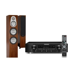 MARANTZ NR-1200 Black Stereo resīveris / MONITOR AUDIO SILVER 300 Walnut Oak akustiskās sistēmas komplekts